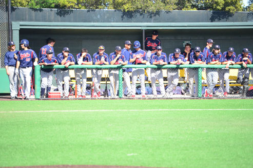 The Santa Rosa Junior College baseball team looks on as it battles against Cañada College Feb. 27 in Redwood City. The Bear Cubs lost 12-5 for only their second loss of the 2016 season.