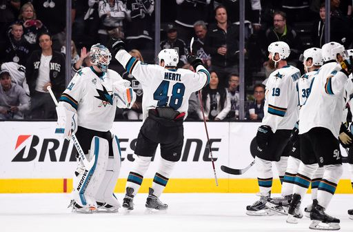 Courtesy of FoxSports.com Left winger Tomas Hertl celebrates with goaltender Martin Jones after the San Jose Sharks defeated the Los Angeles Kings 6-3 in the opening playoff series.  It was the first time the Sharks defeated the Kings in the playoffs since 2011. Hertl finished the series with two points on an assist and a goal. The Sharks faceoff against the winner of the Anaheim Ducks and Nashville Predators series in the second round of the playoffs.