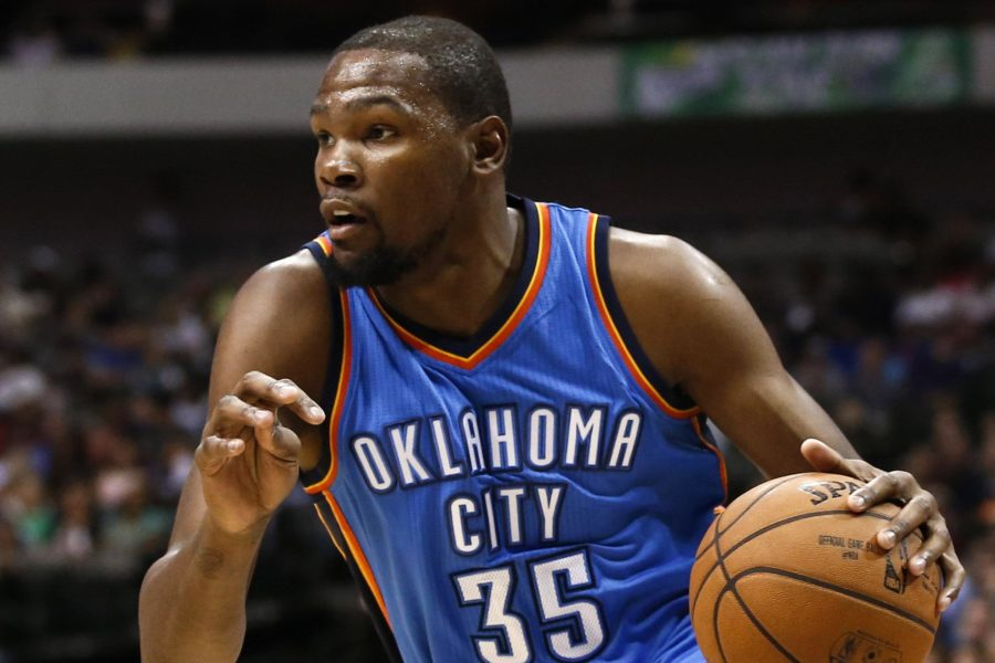 Oklahoma City Thunder forward Kevin Durant drives to the basket during a game. The former MVP has returned to form in 2016 after missing all of last season due to injury.