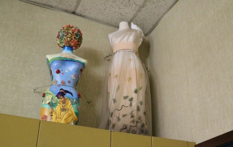 Mannequins in SRJC fashion department classroom shows off the artwork of students both past and present.
