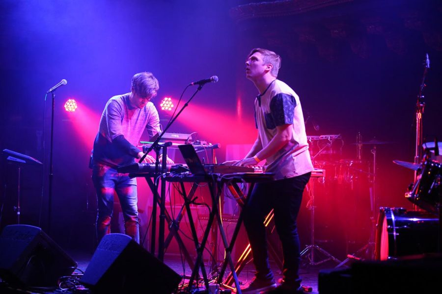 Brannan (left) and Bews (right) playing a set at The Great American Music Hall. The pair have  played music together for two years.