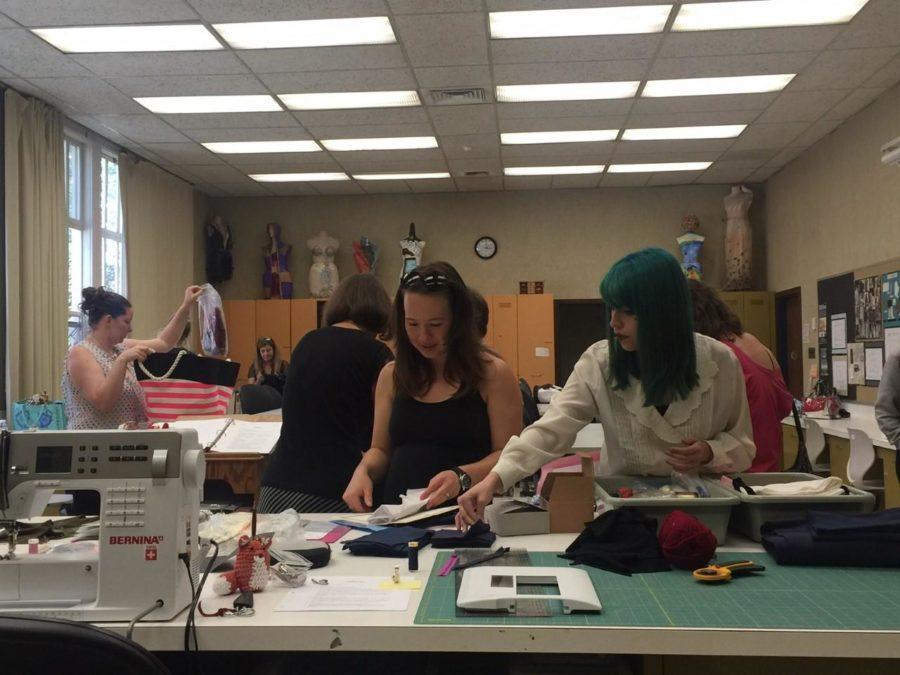 Students in the fashion department work with a wide variety of fabrics.