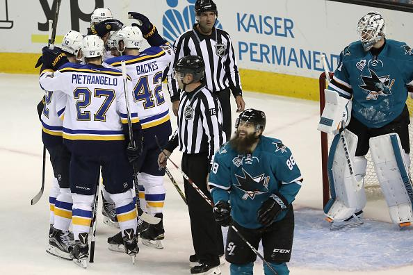 Jori Lehtera, #12 of the St. Louis Blues, celebrates with teammates after his goal against the San Jose Sharks in game four of the Western Conference Finals during the 2016 NHL Stanley Cup Playoffs at SAP Center on May 21 in San Jose, California.