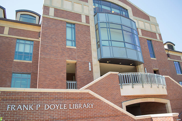 Students can rent textbooks and receive free tutoring at the Frank P. Doyle Library.