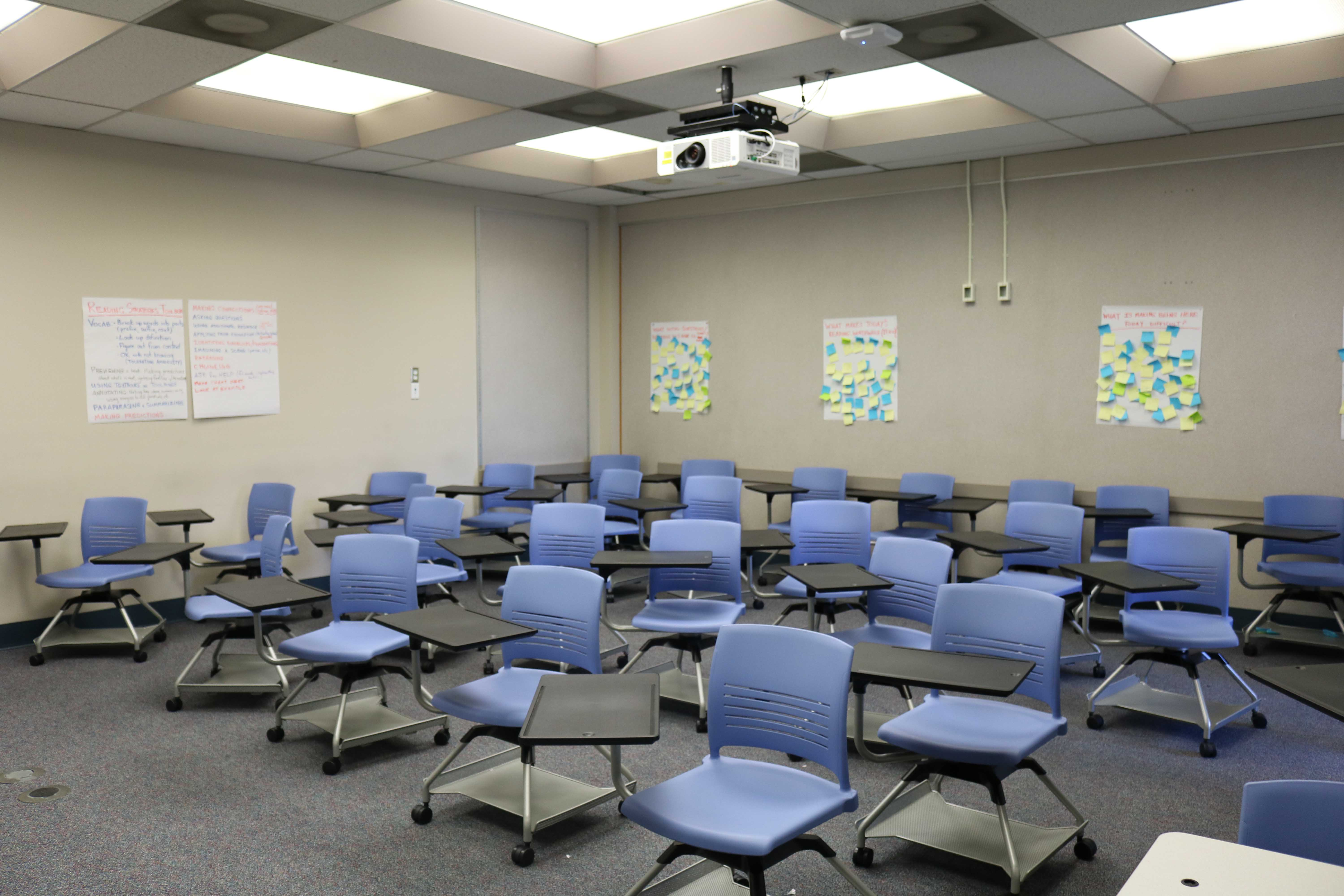 New classroom seating arrangements emphasizes flexibility. Desks and chairs on wheels can be configured for group or individual use.