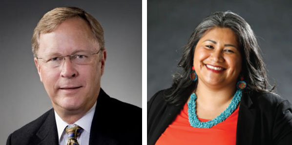 SRJC board of trustees candidates Richard Call (left) and Mariana Martinez (right) are two of the candidates running for open board seats. Incumbent Call has 24 years of experience on the board of trustees and is a local business owner and sports supporter. Martinez holds a Ph.D in education policy and advocates for first-generation college students.
