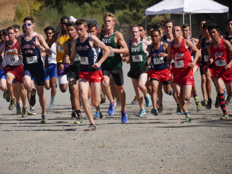 SRJC+mens+cross+country+team+get+out+to+a+fast+start+at+beginning+of+the+race+on+Fri.+16