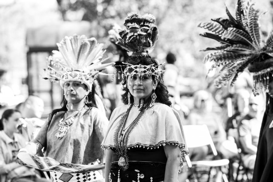 Native American performers in traditional dress at Indigenous Peoples Day in 2015.
