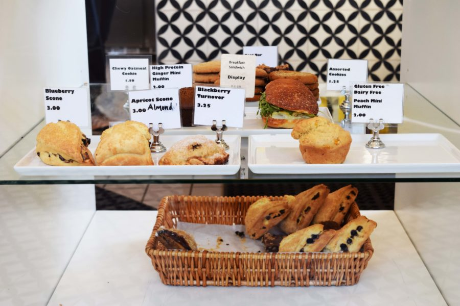 Below the coffee bar, check out the tasty treats.