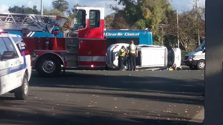 The+accident+caused+the+car+to+flip+on+its+side+in+the+middle+of+Mendocino+Avenue+next+to+SRJC.
