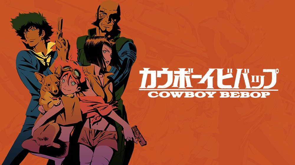 Cowboy Bebop's cast from left to right: Spike, Ein, Edward, Faye and Jet Black
