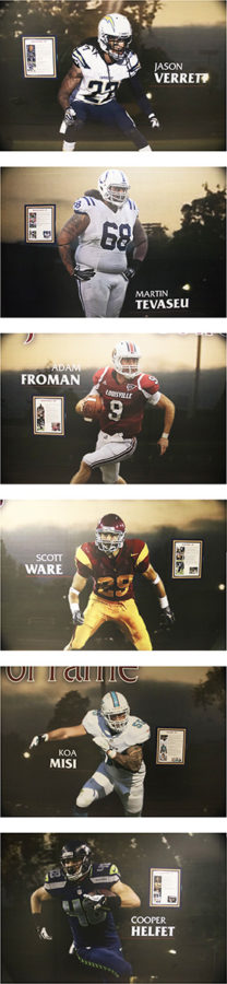 SRJCs+Wall+of+Fame+sits+outside+the+football+coaches+office+to+celebrate+former+SRJC+football+players+who+have+achieved+success+at+the+highest+level.+This+is+a+photo+of+the+wall.