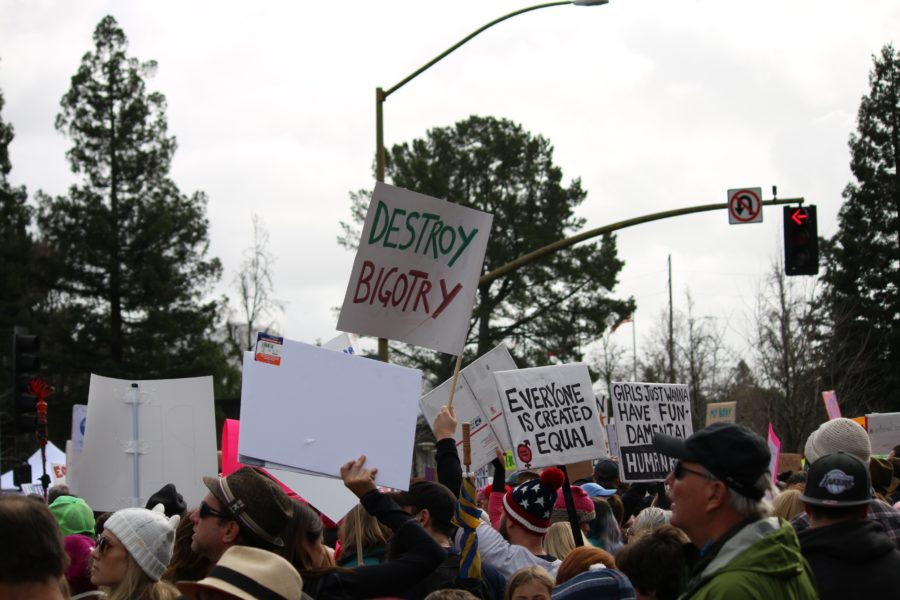 Activists hold signs displaying positive messages at the Womens March in Santa Rosa, Jan. 21st.