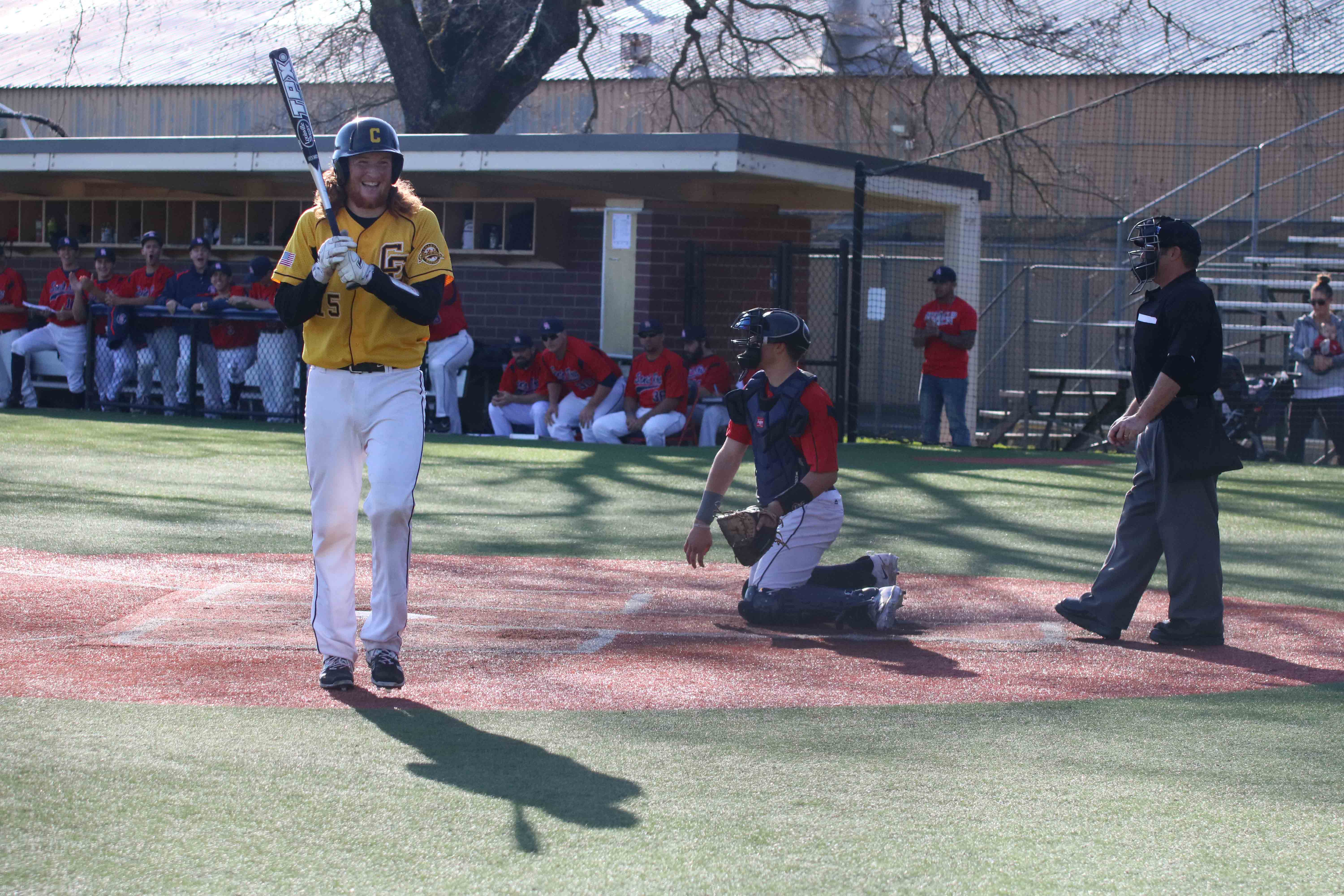 Chabot College catcher Jake McIntosh walks back to the dugout after striking out looking. Chabot batters struck out 27 times and didn't score a run in two games versus Santa Rosa Junior College to start the season.