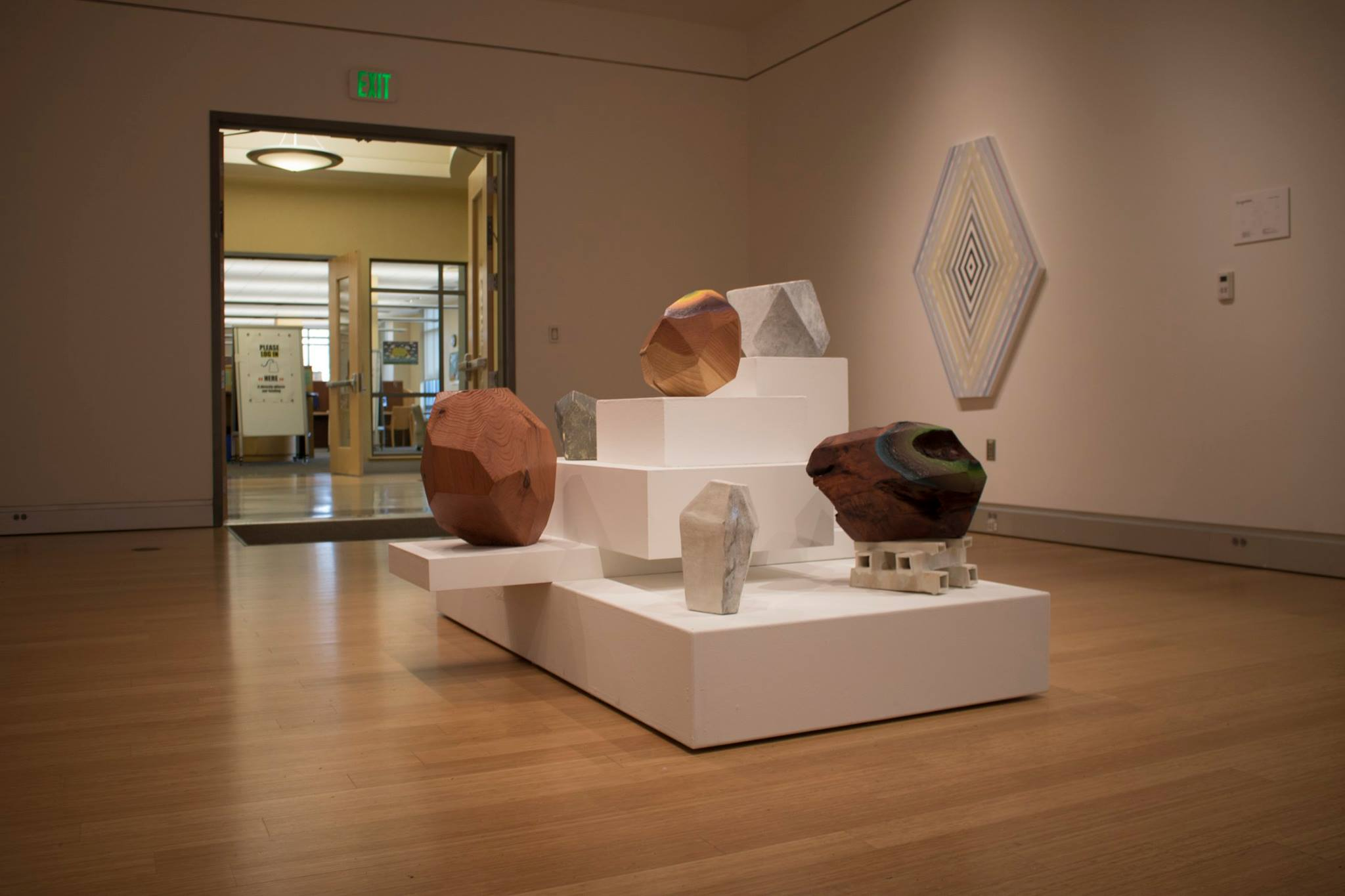 Curated display conceptualizing artistic abstraction below SRJC's Doyle library.