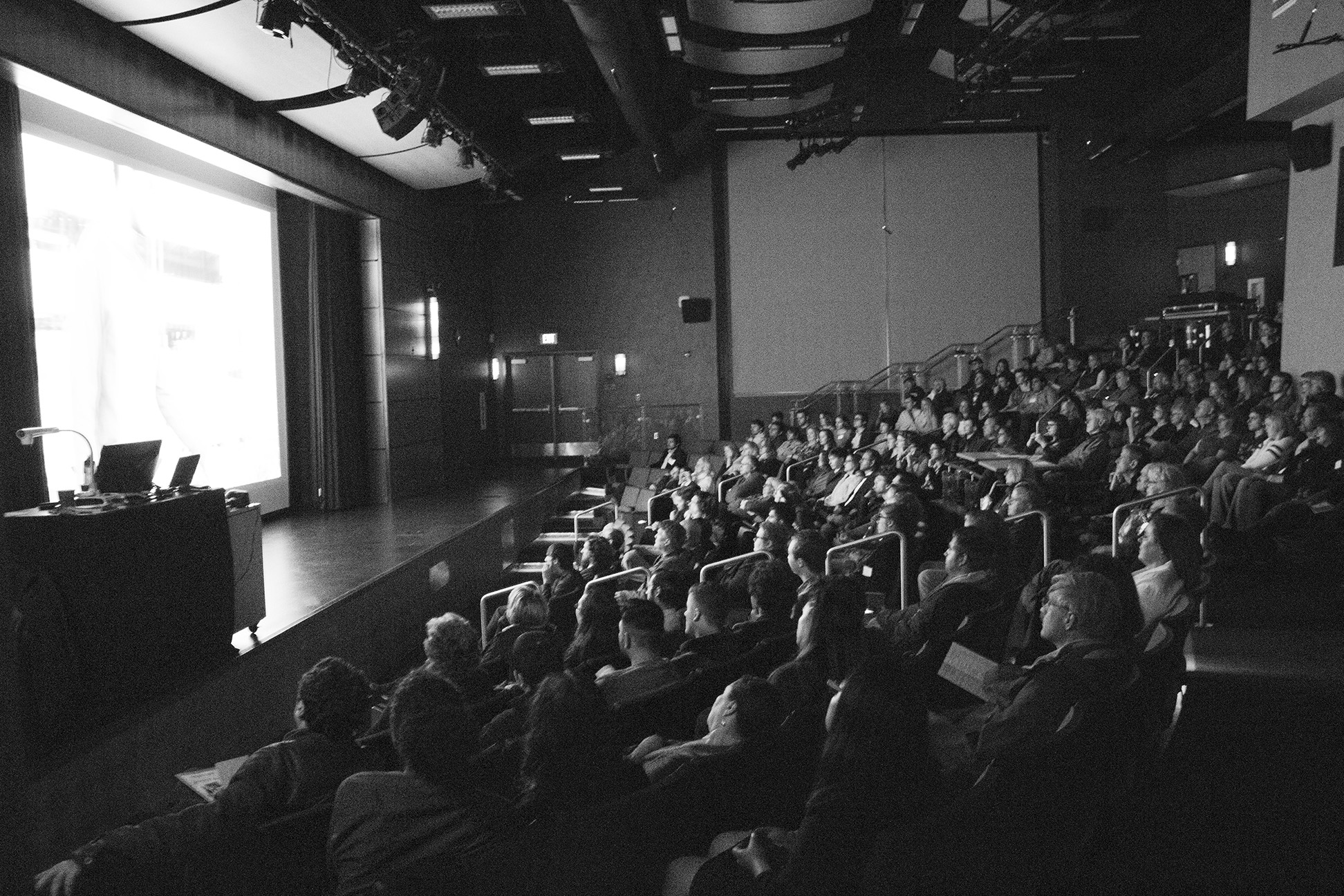 Audience attentively watches the selection of shorts, some submitted by SRJC students, on the Petaluma campus April 7.