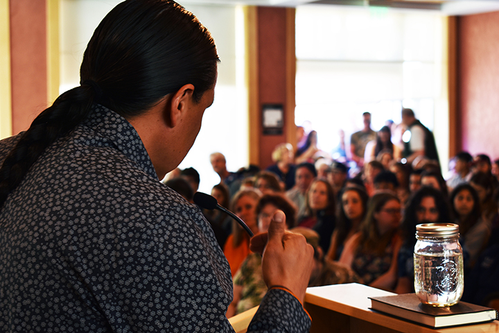 Sioux Tribal member and Standing Rock activist Chase Iron Eyes speaks to a packed crowd in the Lawrence A. Bertolini Center at Santa Rosa Junior College April 3. The event gave students insight into one of the most controversial protests in the U.S.