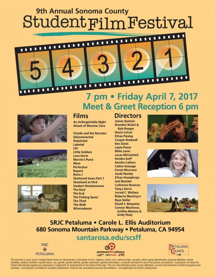 Come watch a variety of short films created by aspiring film students from Sonoma County.
