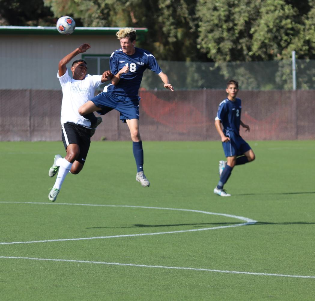 Freshmen defender Logan Zimmer leaps high to stop a ball heading towards the Bear Cub's net in Santa Rosa Junior College's 1-0 win over Napa Valley College on Sept. 14 at Cypher Cook Filed.