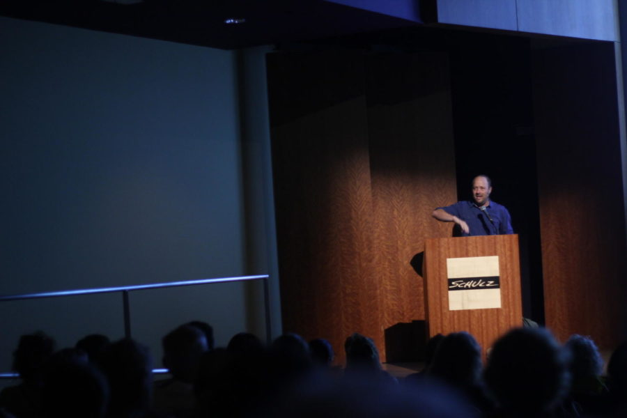 Jay Asher explains the story behind his best selling novel, 13 Reasons Why. Asher gave a presentation at the Charles Schulz museum on Sep. 2.