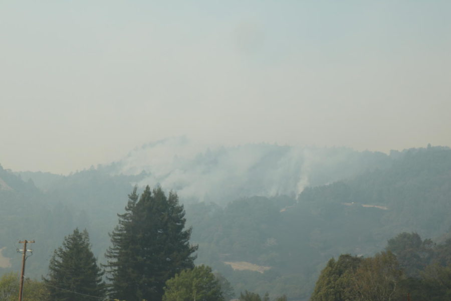 Peaks ablaze in Annadell as they come over the ridge into Bennett Valley near Sonoma Mountain Rd.