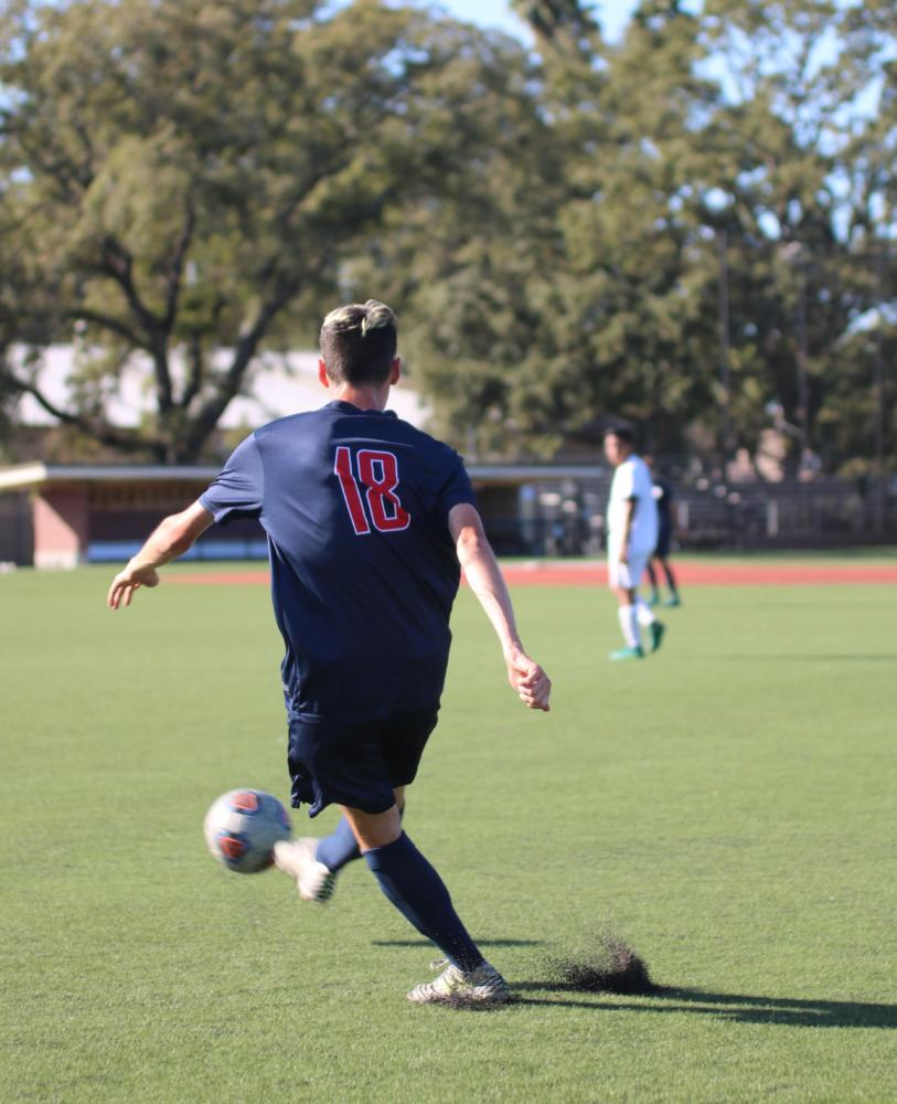 Santa Rosa Junior College freshman defender Logan Zimmer stops at midfield and kicks the ball to an open teammate in the Bear Cubs 1-0 win against Folsom Lake on Oct. 3 in Santa Rosa. Zimmer scored the teams lone goal off a direct free kick.