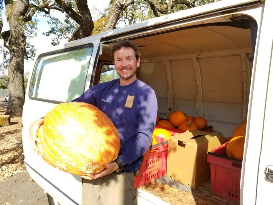 Shone Farm coordinator Anthony Blondin delivers pumpkins to SRJC child development center on Thursday.