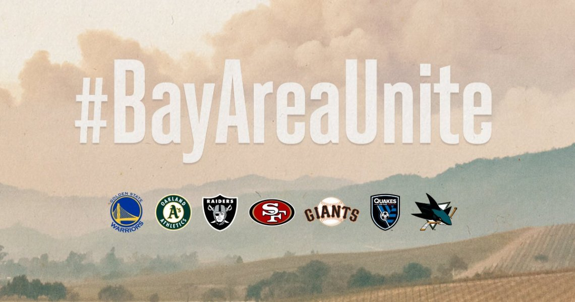 Bay Area sports teams rally together for wildfire fundraising.
