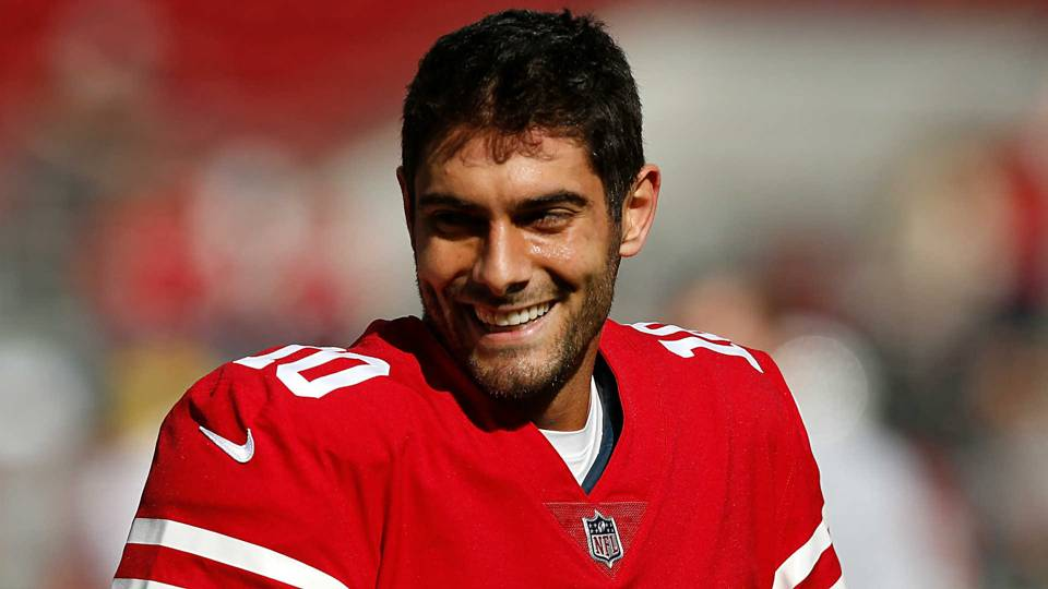 Jimmy Garoppolo is all smiles following his trade to San Francisco.