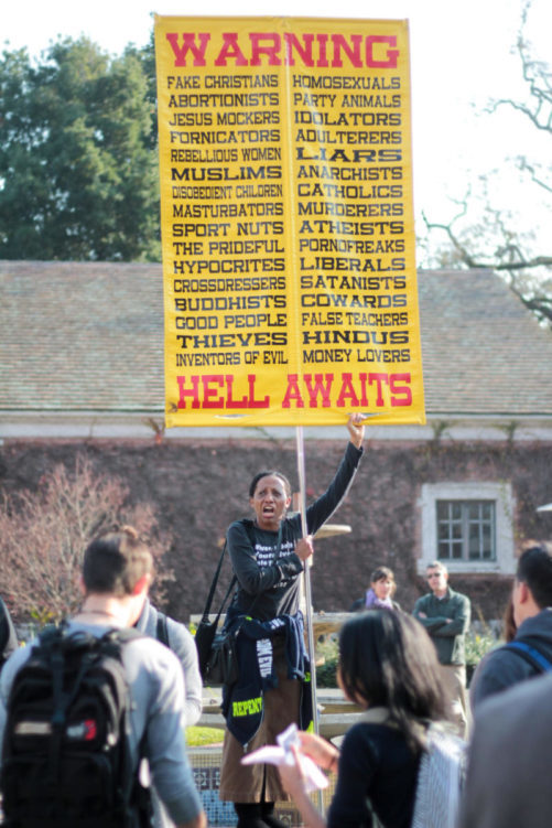 Cry to God, a group focused on informing colleges about the wrath of God, performed a demonstration in Bertollini quad on the Santa Rosa Junior College campus. Of the four demonstrators, two consistently targeted individual students to yell profanities at in an attempt to start a discussion.