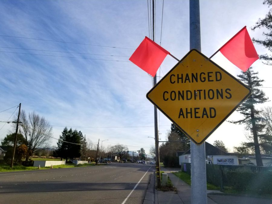 A street sign located on Sebastopol Road in Southwest Santa Rosa informs residents of upcoming changes to the areas infrastructure.