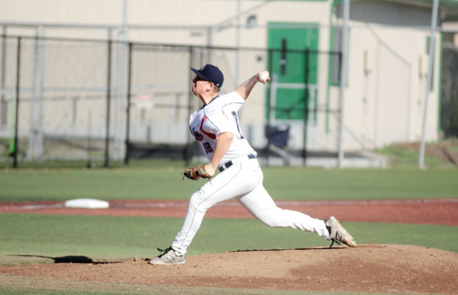 Starting Pitcher Parker Ruoff begins the game against DeAnza college, striking out the first batter.