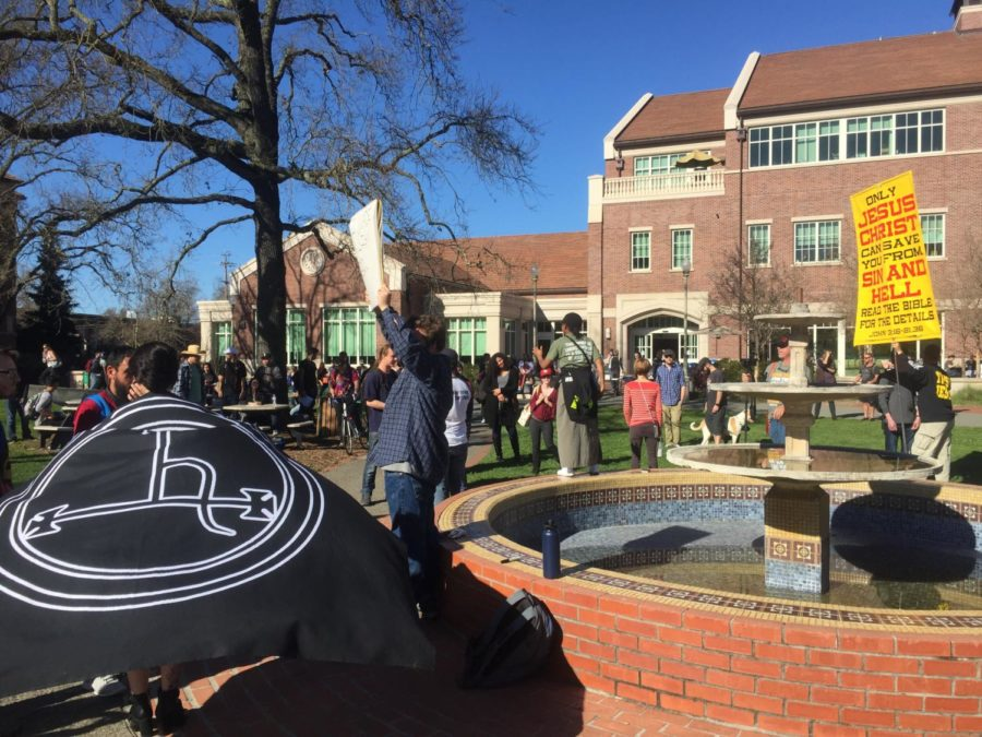 Students like social and behavioral science major Lauryn Gamble, 26, protested against the fundamentalist Christian group, Cry to God. Gamble said, Its absolutely their right to be here. The first time, I engaged them and realized how stupid that was.