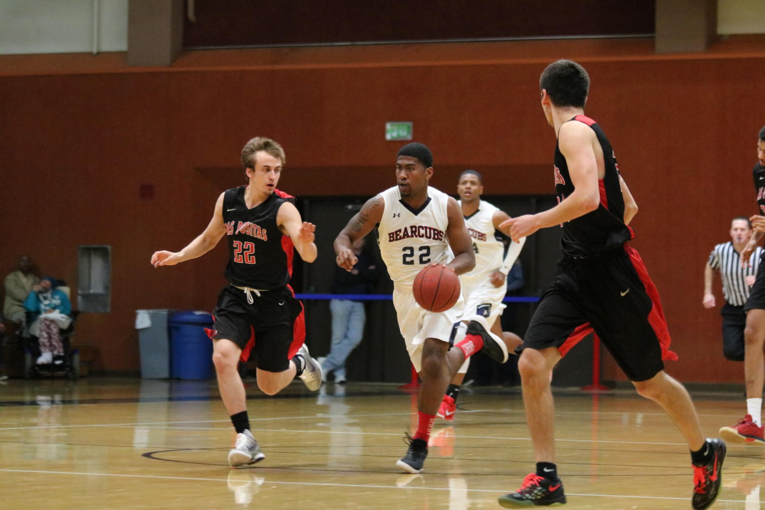 Second-year guard Jordan Graves runs the fast break early in the second half of SRJC's victory.