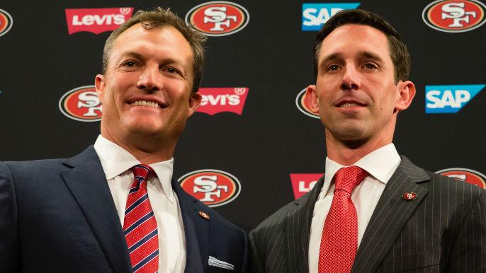 San+Francisco+49ers+General+manager+John+Lynch+and+Head+coach+Kyle+Shanahan.