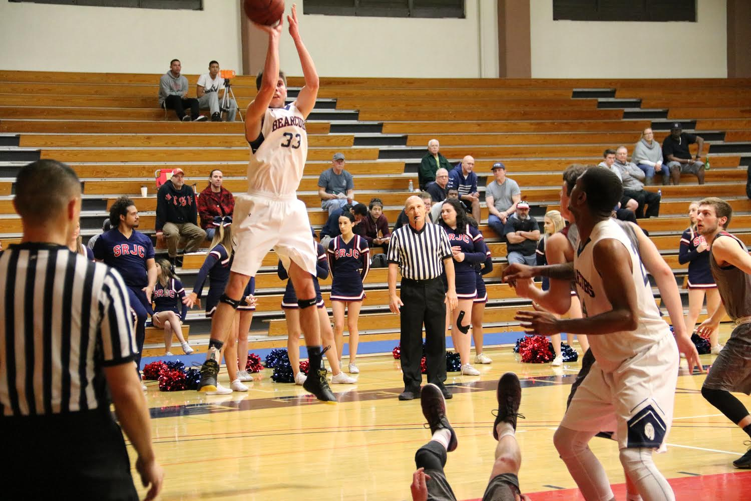 First-year guard Skylar Chavez knocks down the jumper in their win Tuesday against Sierra College at Haehl Pavilion.