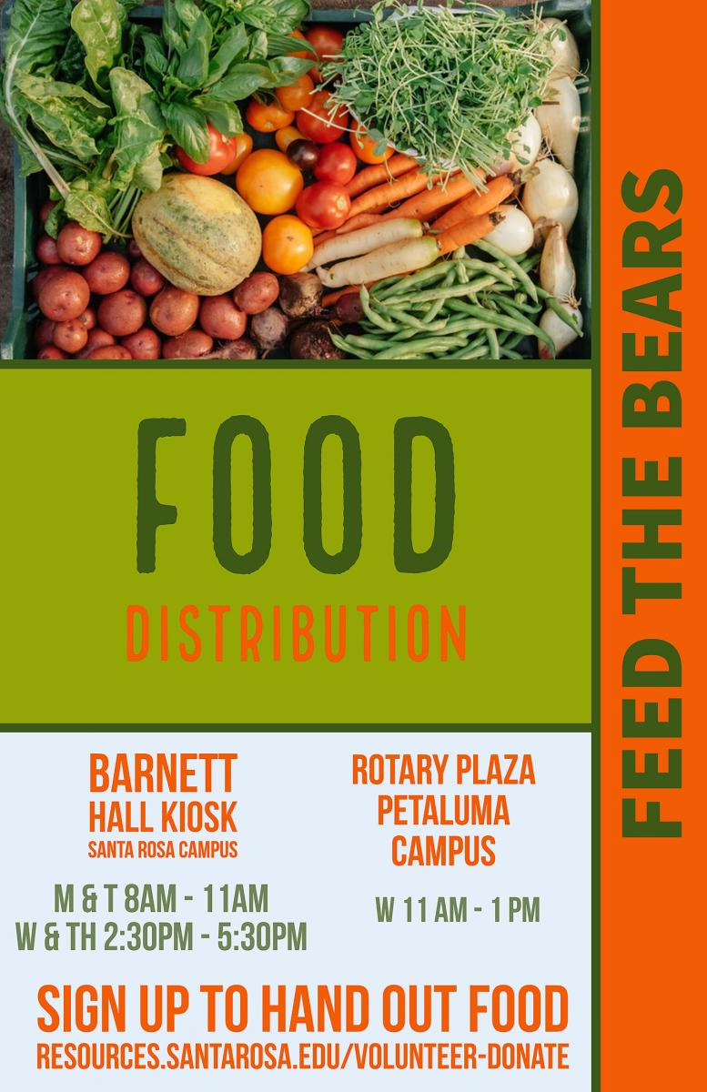 SRJC will continue to provide free food on both the Santa Rosa and Petaluma campuses.