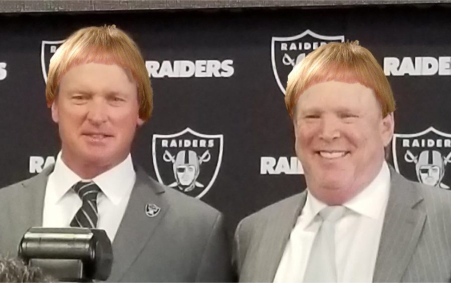 Head+coach+Jon+Gruden+and+Raiders+owner+Marc+Davis+hope+to+find+gems+in+the+2018+draft.