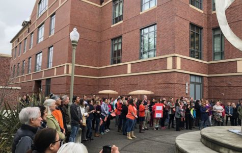 Students, staff and faculty members gather in solidarity at the Santa Rosa campus on March 14 to protest gun violence.