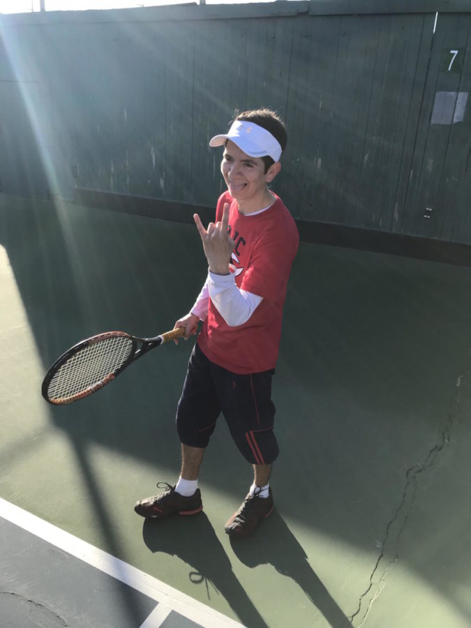 First-year Andres Jojoa-Ortega captures the SRJC spirit during a tournament in Modesto.
