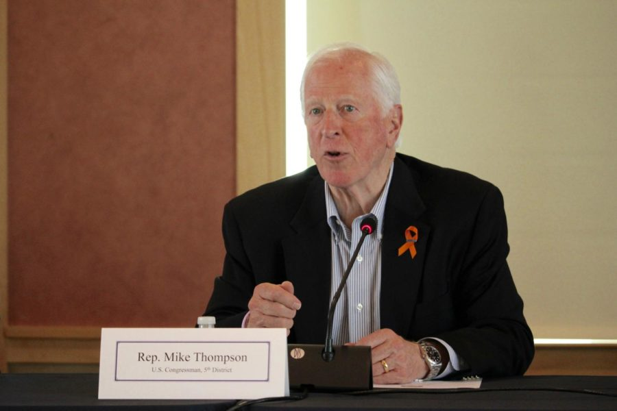 Rep. Mike Thompson from Californias fifth district and chair of the House Gun Violence Prevention Task Force speaks to SRJC community members on April 21.