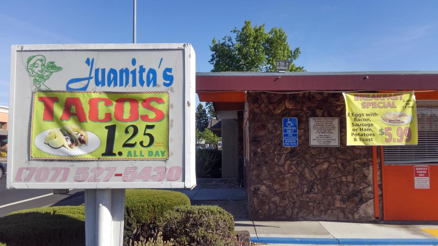 Juanita's offers killer salsas and delicious budget tacos with a location easily accessed by SRJC students.