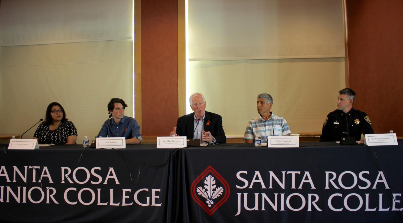 The panelists discuss initiatives towards gun violence prevention on April 21.