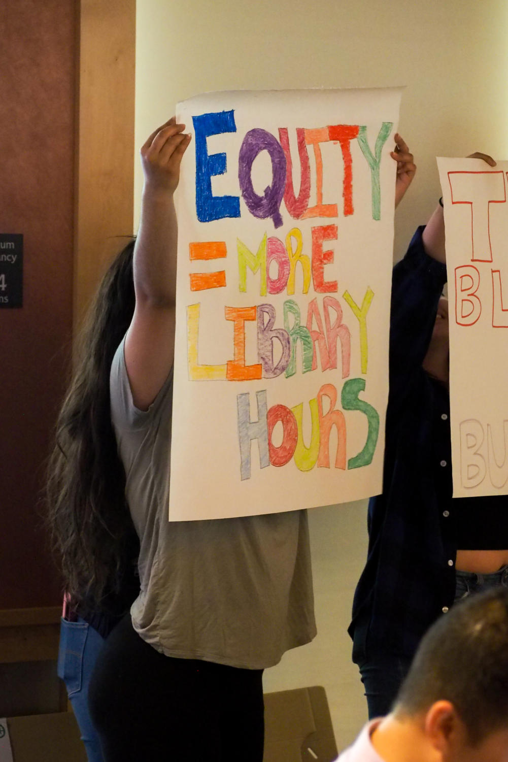 Student protest during the Board of Trustees.