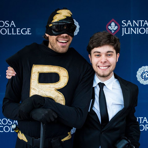 Miles Levin (right), Berkeley Pickell (left) from Super Hero Hotline pose at the 8th Annual Sonoma County Student Film Festival.