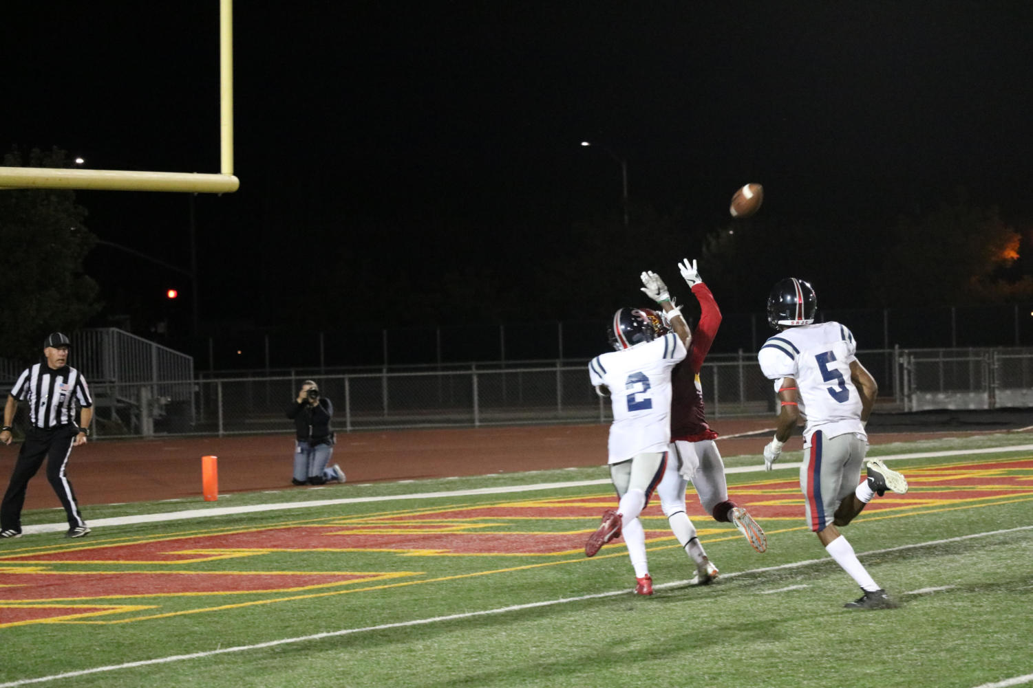Santa Rosa Junior College defensive back makes a play on the ball.