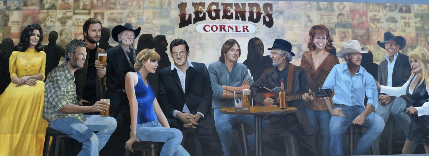 Nashville's Legends Corner mural showing some of country music's biggest stars, including Willie Nelson and Merle Haggard.