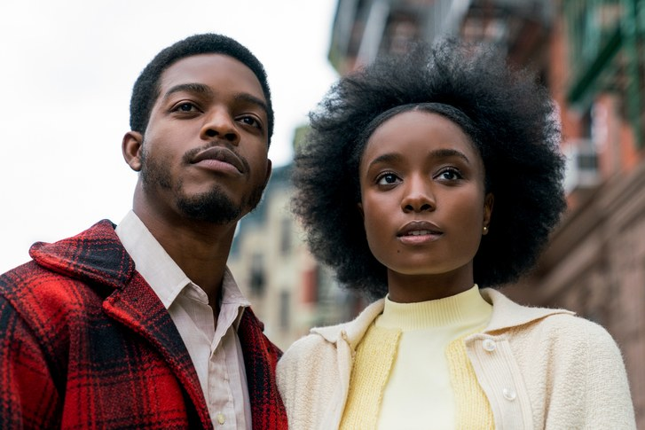 Actors Stephan James and Kiki Layne look out on New York City as Alonzo Hunt and Tish Rivers, respectively, in the 2018 film