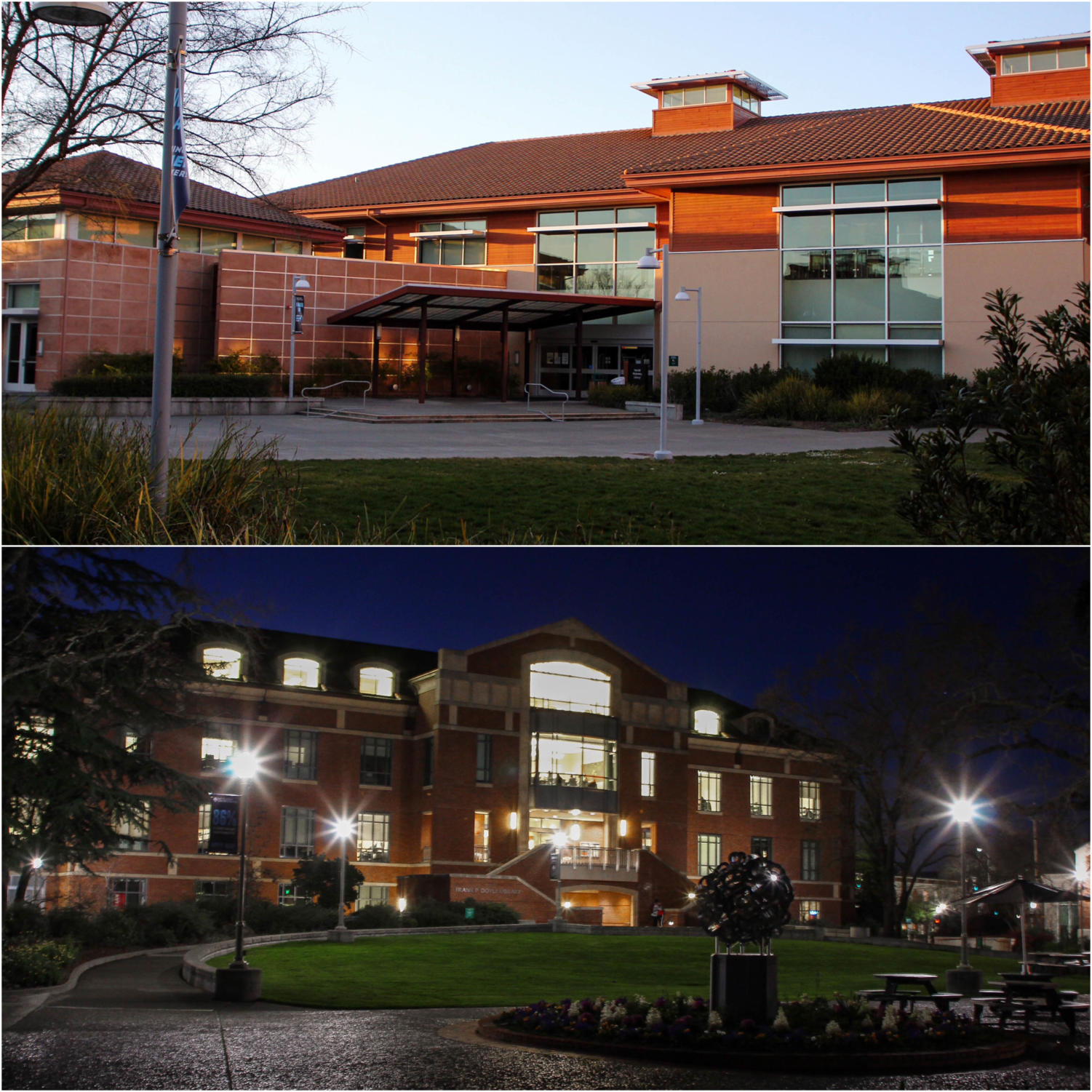 Mahoney (top) and Doyle (bottom) libraries are two buildings at Santa Rosa Junior College that offer student's individual and group work spaces.