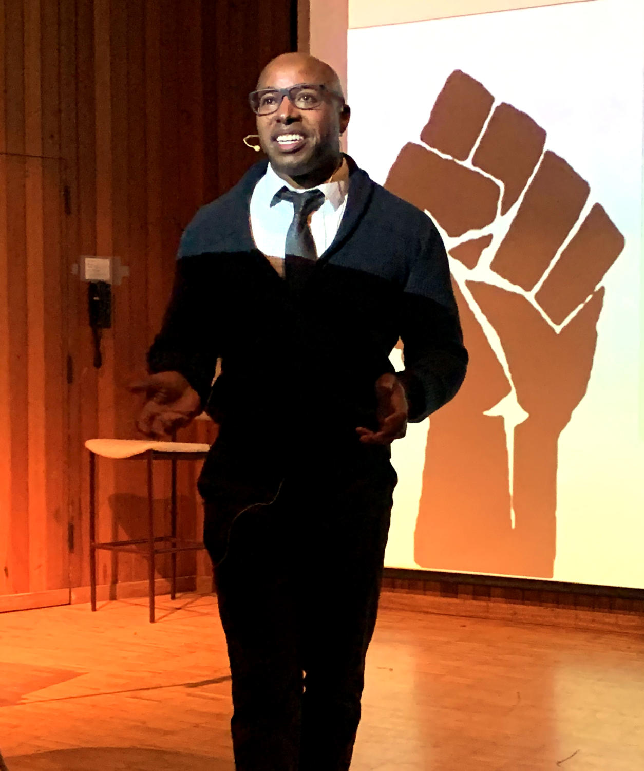 Santa Rosa Junior College social studies instructor Chris Collins speaks about the many forms of resistance toward slavery, in the Newman Auditorium at noon on Monday Feb. 4 2019.